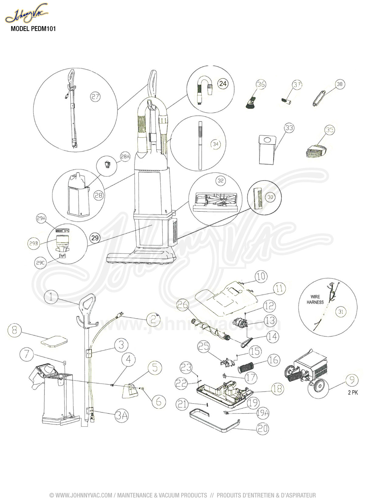 Vacuum schematic exploded view for dm101 models dm101 electrolux canister vacuum parts diagram