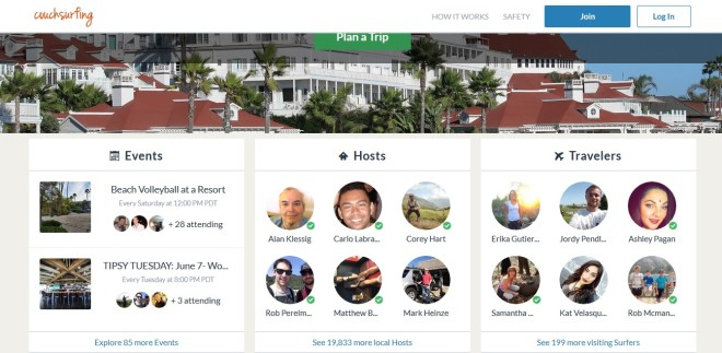 A screenshot from Couchsurfing San Diego taken 6-4-2016 shows the number of hosts, guests, and properties.
