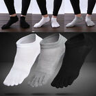 3 Pairs Mens Cotton Toe Five Finger Socks Ankle Sports Breathable Low Cut NIB