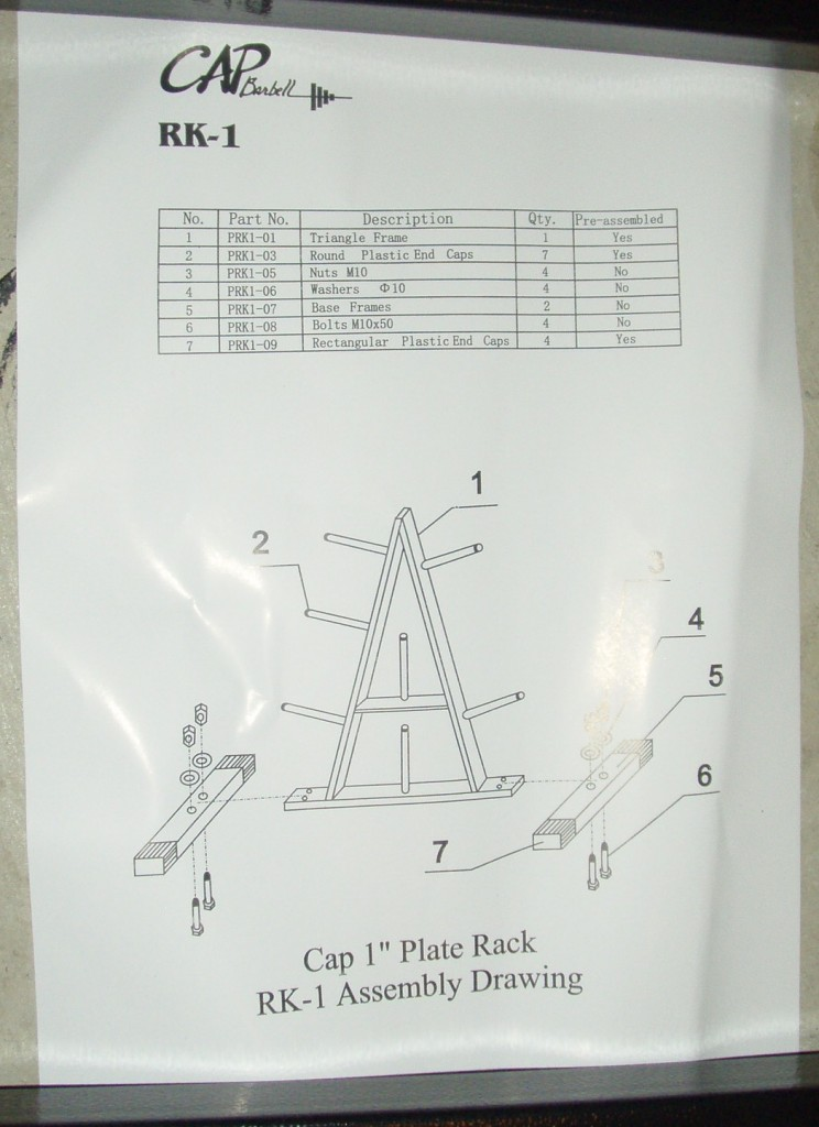 Cap Barbell RK1 Standard Plate Rack Assembly Instrucitons