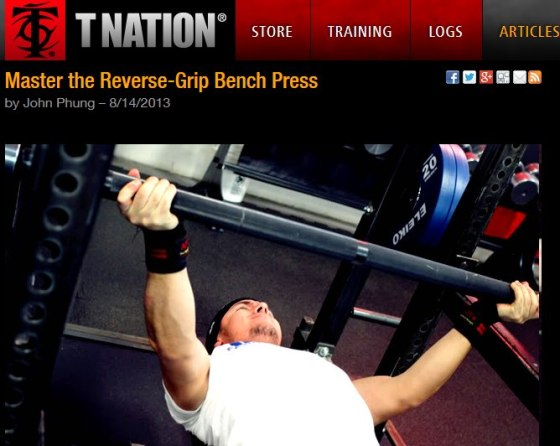 T-Nation Reverse Grip Bench Press
