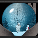 a scene from Snowmatica, where Lady Gaga is trapped inside a snowglobe held upright by metal claws