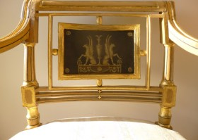 Painted panel detail on restored chair