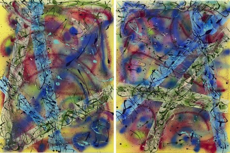 """Original Mixed Acrylic on 48""""h x 36""""w on Stretched Canvas. Two diptych panels No. 2256 and No. 2257 sold as a set only for $4,500."""