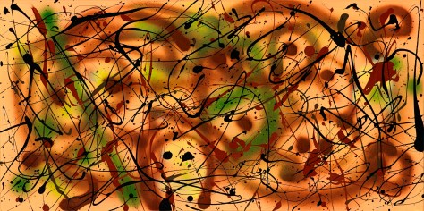 """No. 2270.  """"Circle of Friends""""  Original Mixed Acrylic on 18""""h x 36""""w Premium Quality Stretched Canvas: $1,000."""