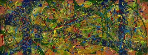 "No. 2285 & No. 2286. On the Path to Wellness Series - Sharing Love: ""Paradise Found"" as Diptych 36""h x 96""w. Original acrylic on two 36""h x 48""w Premium Stretched Canvases. Sold only as a set for $5,500."