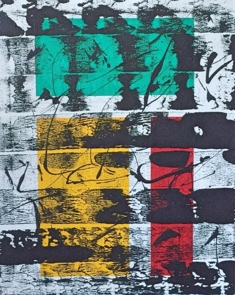 """No. 2356. Film Strip Series: """"View Points: Two Against One"""". $275. Original Mixed Acrylic on stretched canvas 16"""" x 20"""" x .5""""."""
