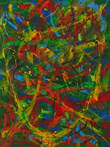 """No. 2298. """"Empowerment in Green"""".  Original Mixed Acrylic on 48""""h x 36""""w Premium Quality Stretched Canvas: $4,000."""