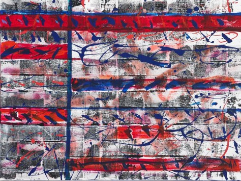 "No. 2309. ""News Reel - Un-Biased Reporting of One Same Event"". Original Mixed Acrylic on 30""h x 40""w x 1.5"" Blick Premium Quality Stretched Canvas."