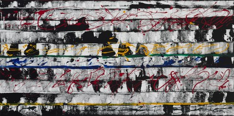 "No. 2307. Film Strip Series: ""Musical Art Pieces - Film Score"". $2,250. Original Mixed Acrylic on 24""h x 40""w x 1.5"" Premium Quality Stretched Canvas."
