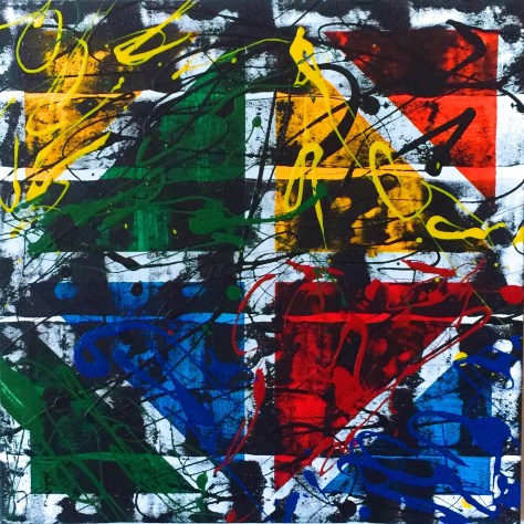 "No. 2347. Film Strip Series: ""Squares and Triangles"". $225. Original Mixed Acrylic on stretched canvas 16"" x 16"" x .5""."