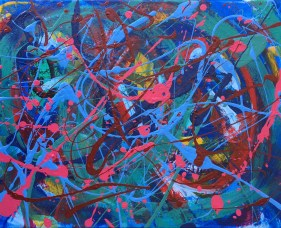"""No. 2337. """"Etude Blue"""" from the Wellness Chakra Healing Series. $225.00. Original mixed acrylic paints on 11"""" x 14"""" x .33"""" stretched canvas."""
