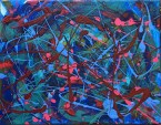 "No. 2338. ""Etude Blue"" from the Wellness Chakra Healing Series. $225.00. Original mixed acrylic paints on 11"" x 14"" x .33"" stretched canvas."