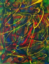 "No. 2342. ""Etude Yellow and Green"" from the Wellness Chakra Healing Series. $225.00. Original mixed acrylic paints on 11"" x 14"" x .33"" stretched canvas."
