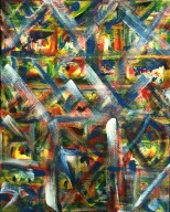 "No. 2362. ""Portal Doorways 4"" from the Kaleidoscopic Illusion Series. $450. Original mixed acrylic paint on 20"" x 16"" x .5"" stretched canvas."