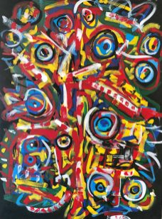 """No. 2374. """"Menagerie Totem"""" from the Artist's Primitive Series. $6,500. Original mixed acrylic paint on 48"""" x 36"""" x 1.5"""" stretched canvas. © Dec 2018 John R Kazanjian, San Diego, CA."""