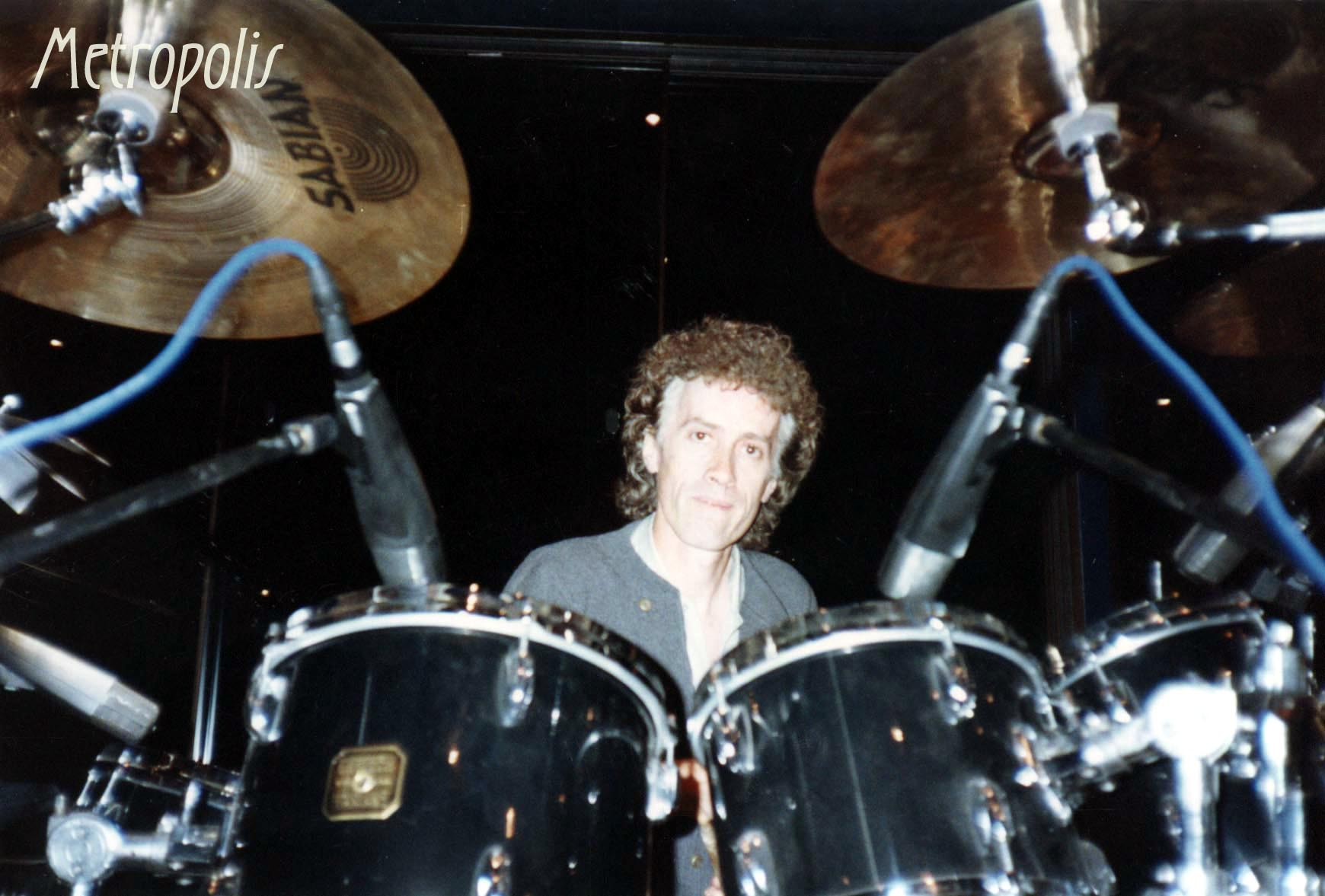 Rupert Hine 1990 playing on Geoff Dugmore's drums 1990