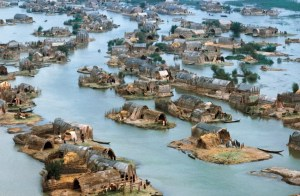 1974, The Marshes, near Nasiriya, Iraq --- Marsh Arab Village --- Image by ?? Nik Wheeler/CORBIS