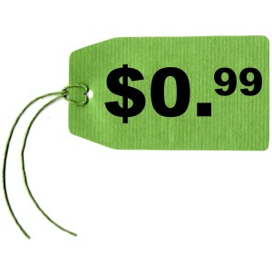 Price tag label with string isolated over white, 0.99 dollar cent