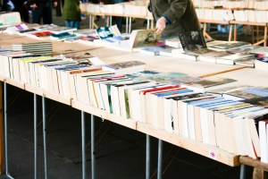Browsing a book fair - books laid out on trestle tables