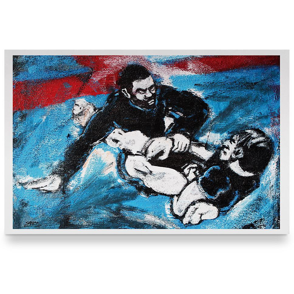 """NEW ART PRINT FOR SALE. """"Competition""""  11×17 limited edition of 25 Click the link in the profile or visit www.artbysmalls.com . . . #art #artbysmalls #painting #bjj"""