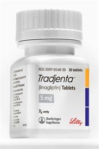Bottle of 5 mg Tradjenta tablets