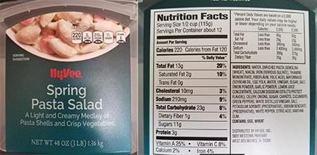 hy-vee pasta salad recall lawsuit