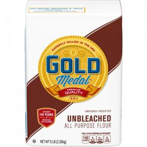 image of the gold medal brand of unbleached , all purpose flour.