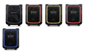 front view image of ecoboulder bluetooth speakers in a variety of colors including blue, orange, red, yellow, black
