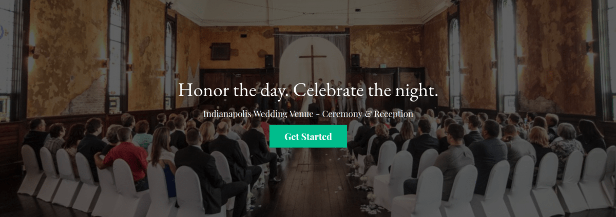 Home page of a wedding venue