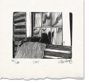 cat wood engraving