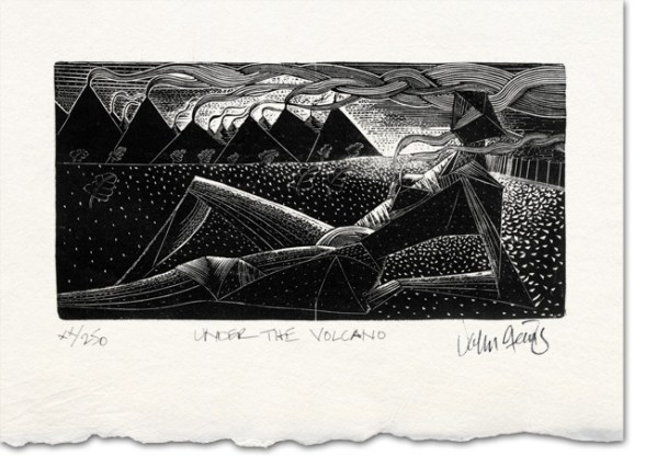 under the volcano wood engraving