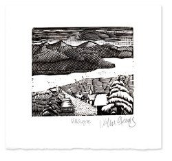 Village ~ Wood Engraving by John Steins