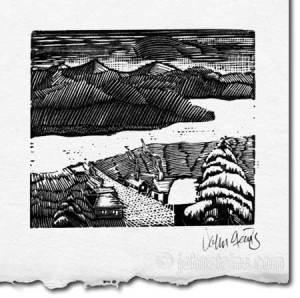 village wood engraving