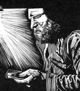 Midnight Gambler ~ Wood Engraving ~ John Steins