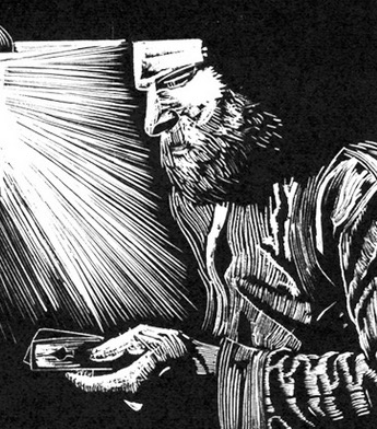 Midnight Gambler ~ Wood Engraving ~ John Steins
