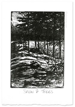 """Snow & Trees"" ~ wood engraving ~ © John Steins"