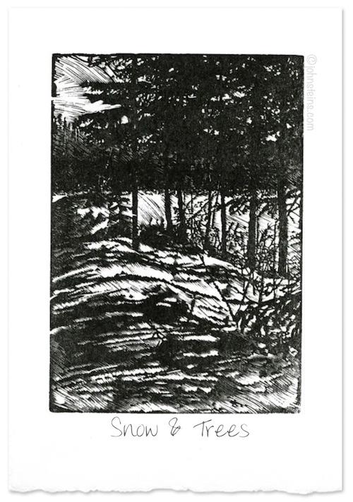 """Snow & Trees"" ~ wood engraving ~ © John Steins"