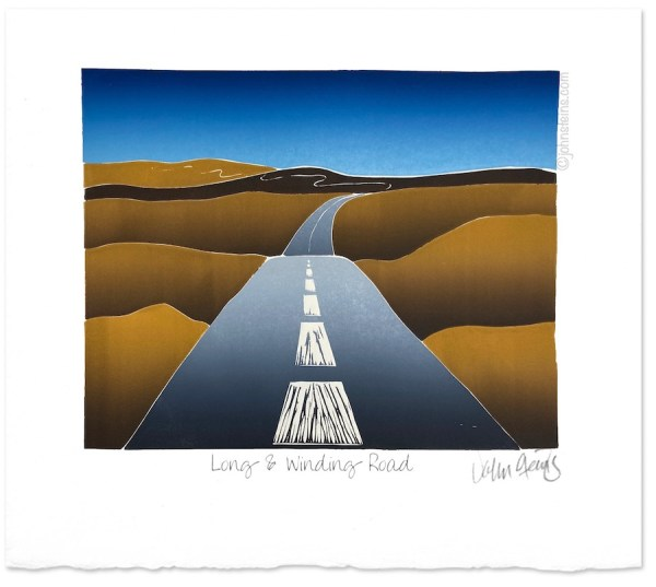 Jigsaw print in several colours showing a long and winding road