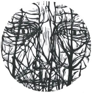 detail view of linocut called Bushman
