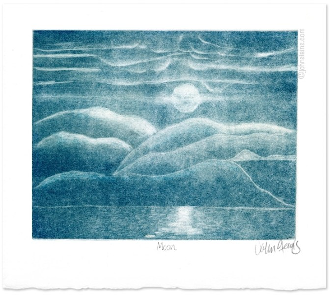 """Moon"" ~Mezzotint intaglio print ~ © John Steins"
