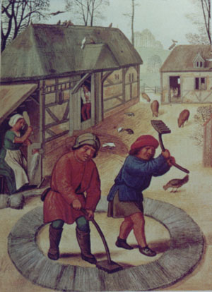 Illustration of peasants threshing