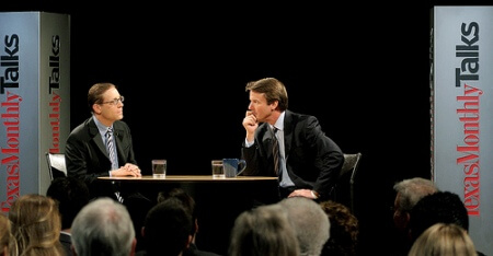 Evan Smith (left) on Texas Monthly Talks, interviewing John Edwards.