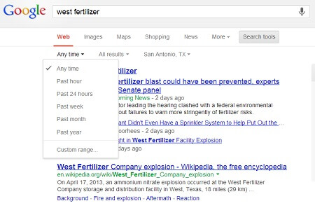 Google search result filter by date