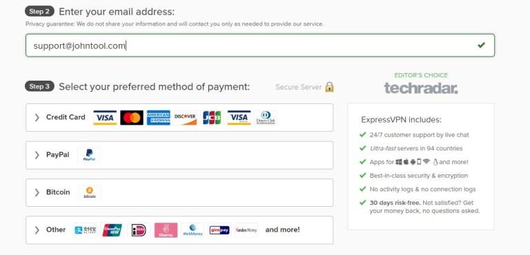 輸入電子郵件及付款