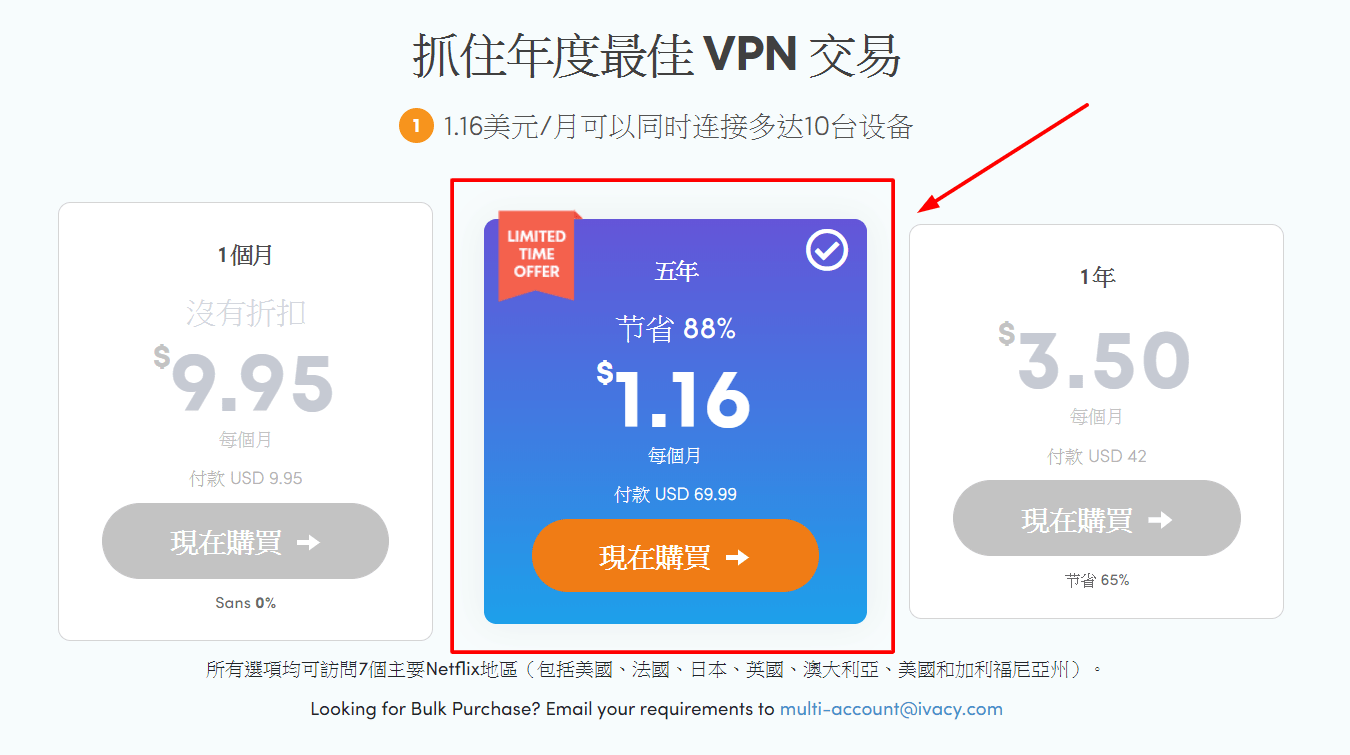 Ivacy VPN 5 年方案