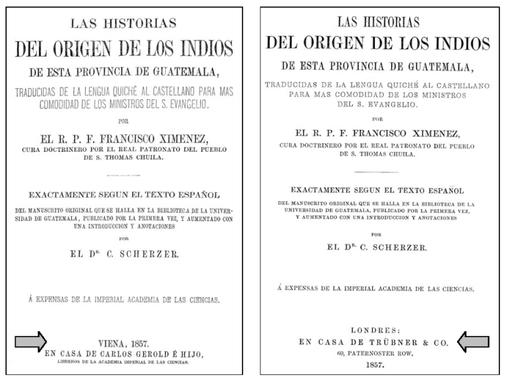 Figure 10 - Title pages of the two printings of Scherzer's 1857 edition