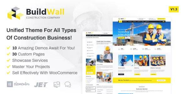 BuildWall v1.3.1 - Construction Company Elementor WordPress Theme