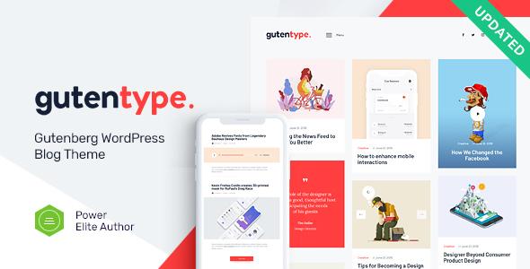 Gutentype v1.8.0 - 100% Gutenberg WordPress Theme