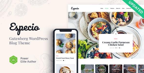 Especio v1.0 - Personal Gutenberg Food Blog WordPress Theme